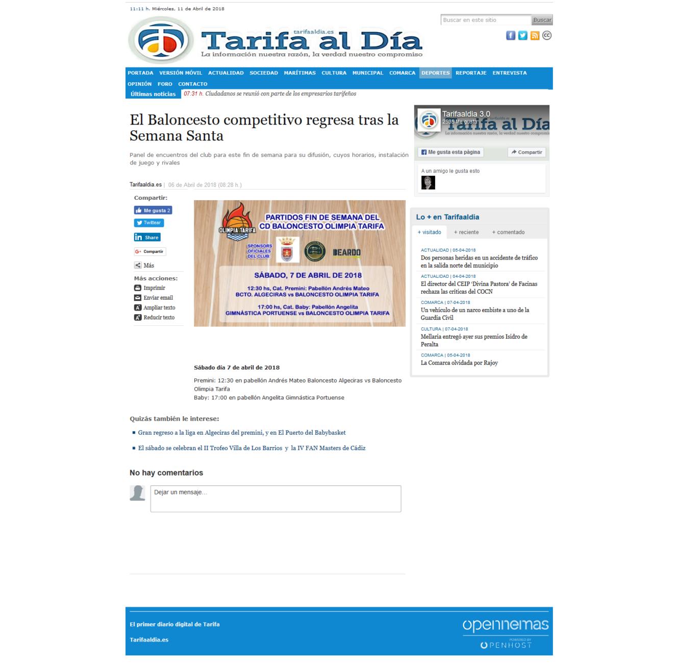 Screenshot-2018-4-11 El Baloncesto competitivo regresa tras la Semana Santa